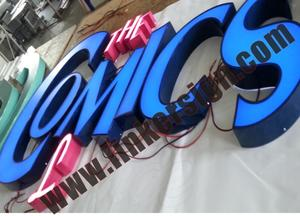 blue leds front lighted channel letter signage