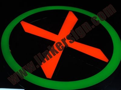 green and red led lighted logo advertising signage