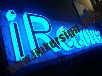 channel letter signage side lighted with blue