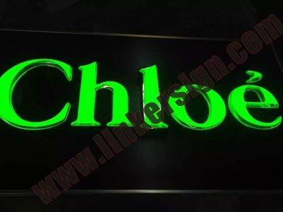 Green led lighted store signage