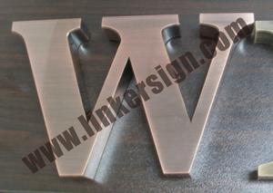 brushed stainless steel copper letter logo signage