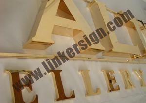 mirror polished gold channel letter signage with high quality