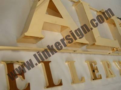 mirror polished gold channel letter signage