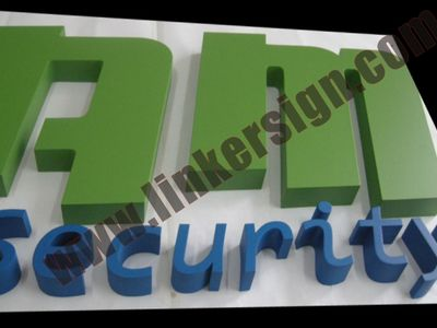 aluminum letter signage painted with various colors