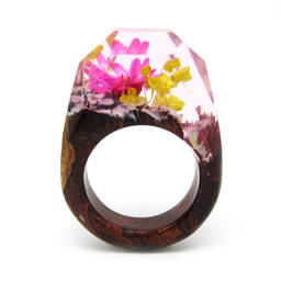 Unique flower secret resin wood ring wooden resin ring (wood ring secret wood ring for women)