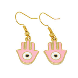 wholesale factory price gold hanging earring enamel fancy earrings(evil eyes earring)