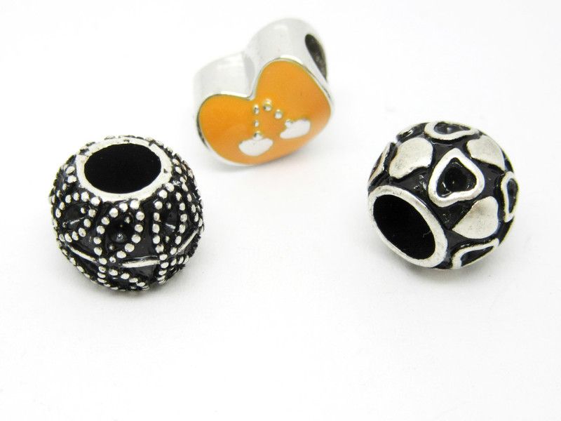 Wholesale metal alloy silver European beads for bracelet(charms for bracelet making bead)