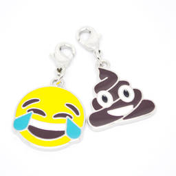 Hot sales metal silver emoji pendants, Emoji poop charms (pendants and charms)