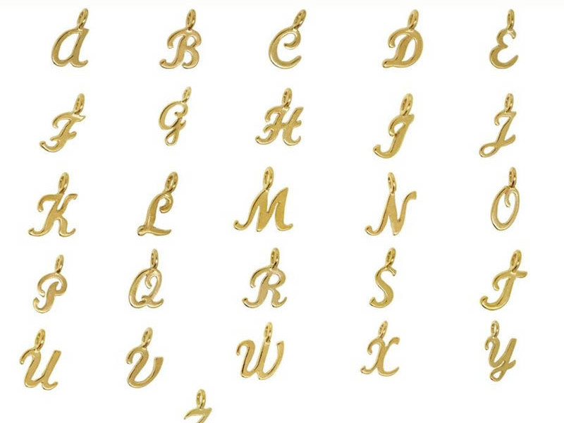 Wholesale metal alloy customized arabic letters (alphabets pendant designs)
