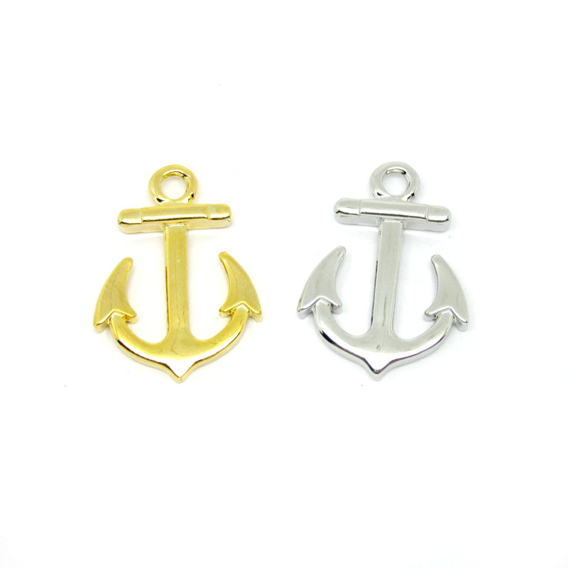 Custom handmade silver anchor charms jewelry, simple anchor pendants (alphabets pendant designs)