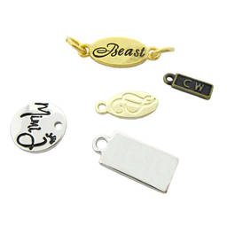 Wholesale zinc alloy silver jewelry tag charms, necklaces tag  (custom made metal logo charms)