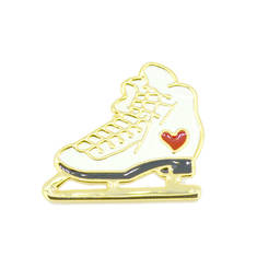 China fashion jewelry factory alloy gold ice skate enamel pins jewelry (enamel lapel pin)