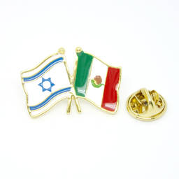 China Factory double flag enamel pins and Israel Mexico flag pins (flag lapel pin)