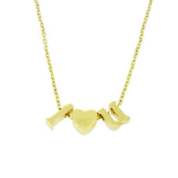 Zinc alloy gold I love you initial slider beads necklaces  (custom necklace)