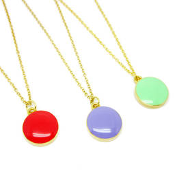 Simple Designs Round Disc charms necklaces  (enamel disc pendant jewelry)