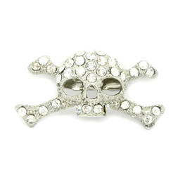 Metal silver rhinestone skull and bone brooch pin (brooch with chain)