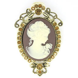 Gold plated Cameo metal frame base brooch for women (cameo brooch)