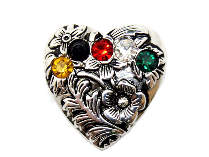 Custom made heart shaped brooch with crystals  (crystal brooch)