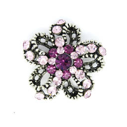 Antique silver plated rhinestone custom brooch  (vintage brooch)