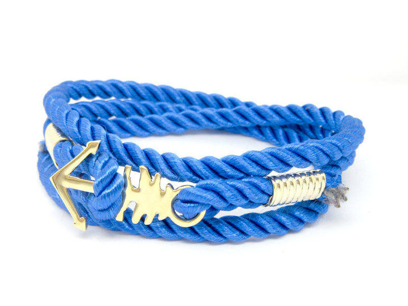 Handmade men's The Nautical Anchor Bracelet in blue (bracelet for men)