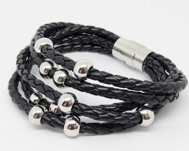 Black PU leather wrap braided bracelets with magnetic clasp (leather bracelet wholesale)