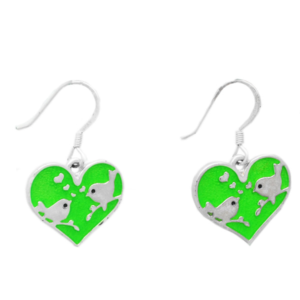 Unique green enamel kissing bird heart earrings hook(drop earring)