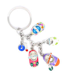 Wholesale enamel charms jewelry factory 3D baby shoes keychains (custom metal keychain)
