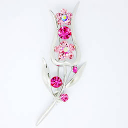 Wholesale  silver custom Pink rhinestone rose flower brooch manufacturer(flower brooch)
