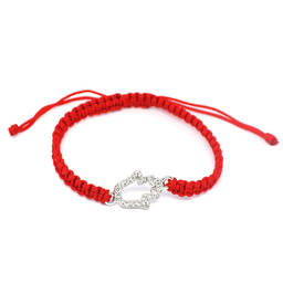 Wholesale factory red wax nylon cord rope bracelet with crystal hamsa connector (hamsa bracelet)