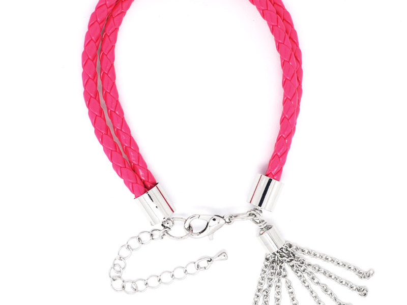 Wholesale braided leather bracelet with tassel chains(handmade leather bracelet)
