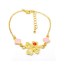 Gold plated lucky clover charms bracelet jewelry factory (manufacture wholesale custom bracelet)