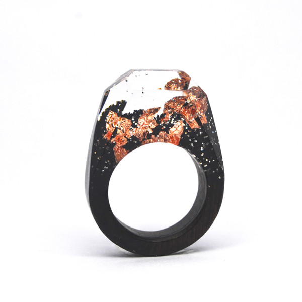 Custom made rose gold foiled resin rings wood jewelry (natural wood rings)