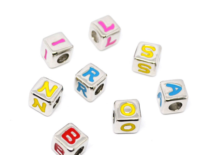 Silver alloy metal square initials beads charm for necklace (Charms beads)