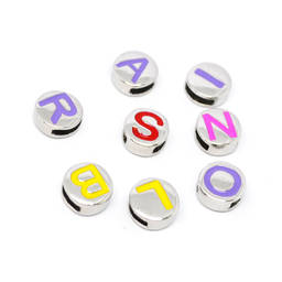 Custom round letter engraved tag beads charms for silicon bracelets (Custom alphabet charms)