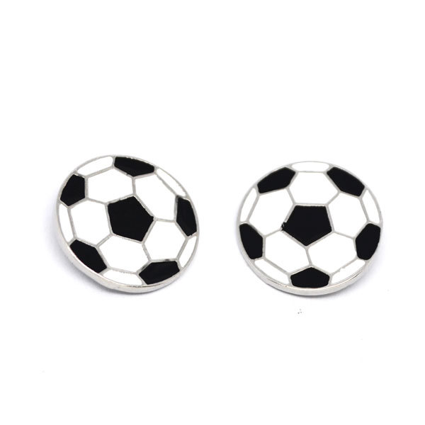 Wholesale sports charms Enamel Soccer Ball Charm post Earrings supplier (ball stud earrings)