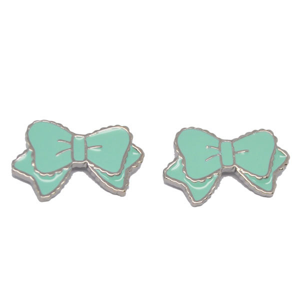 Mini cute enamel bow charms stud earrings for girls (earrings for girls)