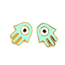 Custom wholesale gold plated baby enamel hamsa charms stud earrings (gold plated earrings)