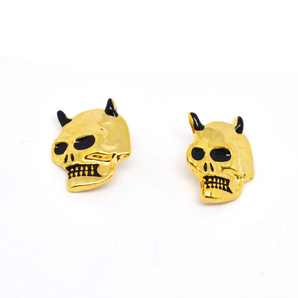 Wholesale alloy gold skull charms jewelry stud earrings (jewellery earrings)