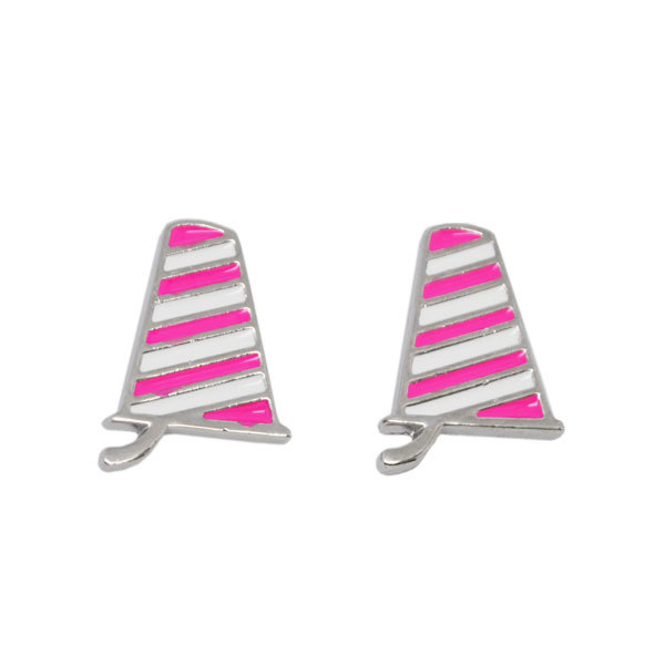 small pink enamel tropical cup charms earrings (pink earrings)