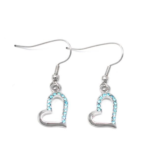 Silver custom made alloy rhinestone heart charms dangle earrings (silver heart earrings)