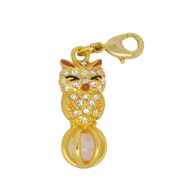 gold plated cute mini crystal owl pendant charms jewelry (clip on charms)