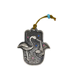 Custom metal antique silver stork hamsa charms religious jewelry (metal charms)