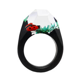 Wholesale Factory handmade ladybug charm resin wood ring  (wood ring)