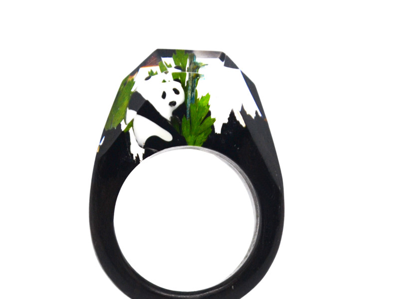 New arrival metal panda bear wood resin rings factory  (wood resin ring)