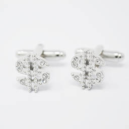 Wholesale handmade shiny silver crystals cufflinks dollars (crystal cufflinks)