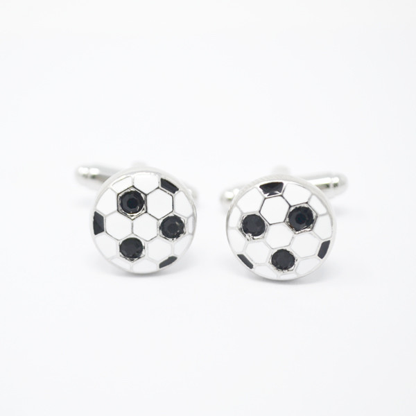Silver Rhinestone Enamel Black & White Football cuff links (enamel cufflinks)