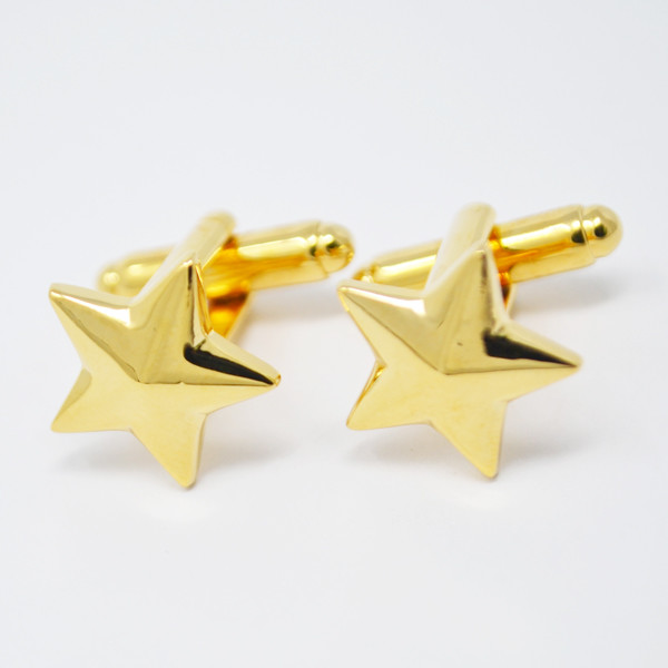 Wholesale Gold tone shiny custom star cuff links (custom cufflinks)