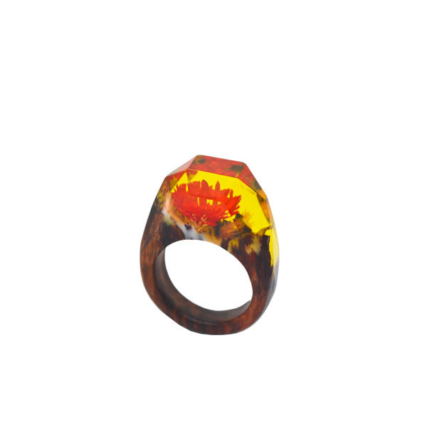 Custom made wood resin red dried flower ring (wood and resin rings)
