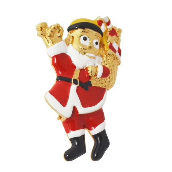 Popular Nice design Metal gold plated Father Christmas Pins (christmas pins)