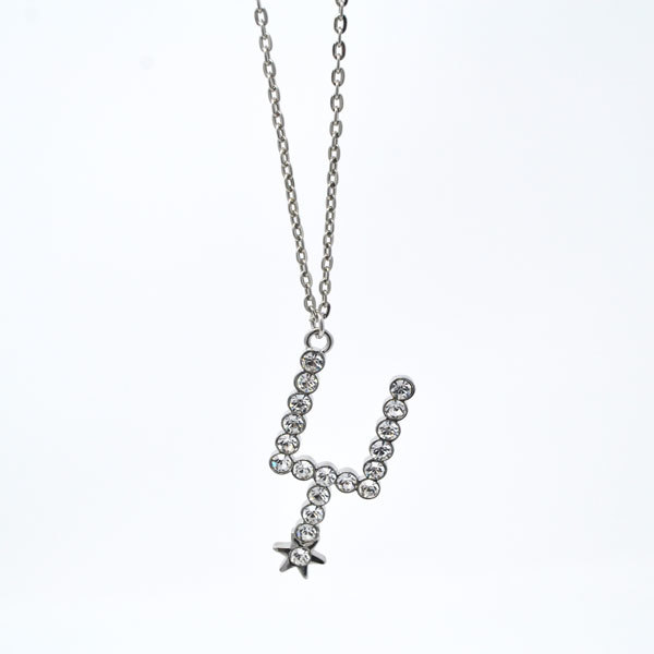 San Antonio The Shiny Crystal Spurs Logo Charm Necklace (silver necklace)